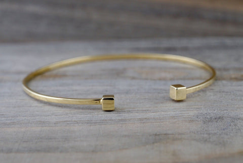 14k Solid Yellow Gold Square Charm Bracelet Dainty Love Gift Fashion Open Cuff Bangle