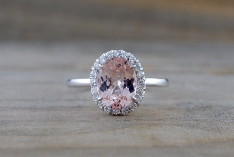 14k White Gold Oval Morganite Peach Beige Diamond Halo Engagement Ring Vintage 10mm