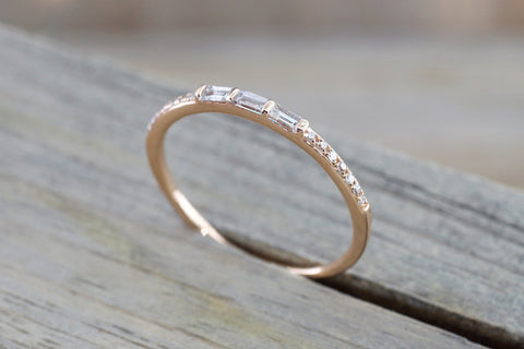 Gold Round And Baguette Cut Diamond Ring Wedding ASPBR010017