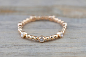 14k Rose Gold Diamond Bezel Bead Full Eternity Staggered Stackable Dainty Ring Band Wedding