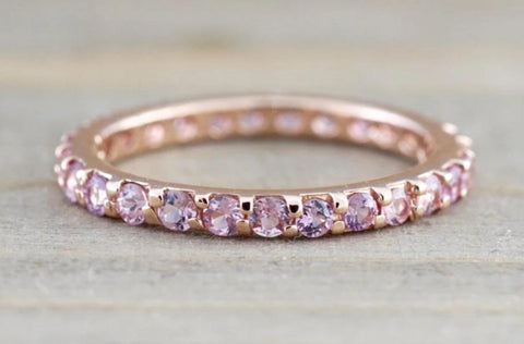14k Gold Pink Sapphire Eternity Band Ring 2.1mm B10079