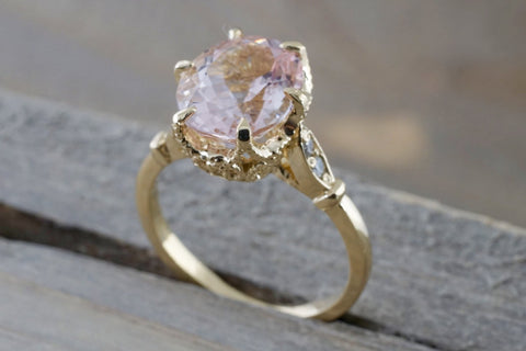 14k Gold 10x8mm Oval Morganite Art Deco Diamonds Ring ASPER1430027