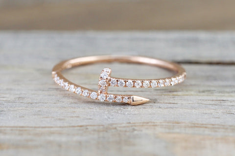 14k Solid Rose Gold Diamond Nail Fashion Ring Band Dainty Stackable Stacking