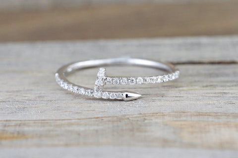 14k Solid White Gold Diamond Nail Fashion Ring Band Dainty Stackable Stacking