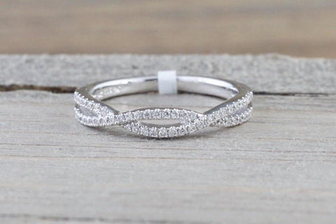 14k White Gold Infinity Twist Cross Eternity Crossover Diamond Engagement Ring
