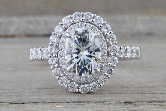 Double Halo Oval Moissanite