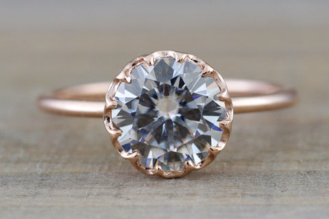 Moissanite  Gold Solitaire Round 8mm Melrose