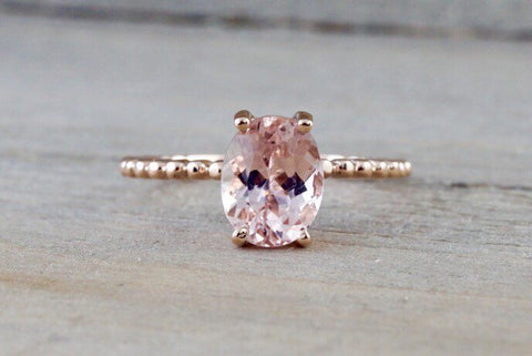 9x7mm 14k Rose Gold Elongated Oval Cut Pink Peach Morganite Prong Engagement Promise Ring Rope