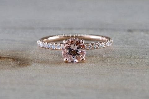 Victoria 14k Gold Round Morganite Diamond Under Halo Ring Engagement M3002