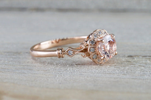 Art Deco Round Shape Morganite Ring