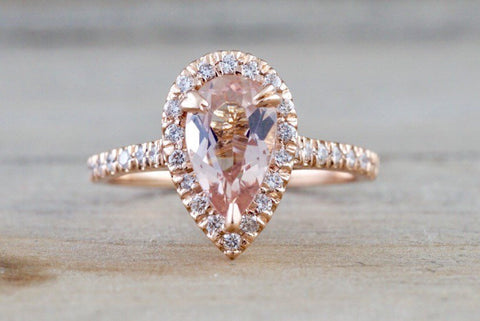14k Rose Gold Pear Morganite Peach Champagne Beige Diamond Halo Engagement Ring Vintage