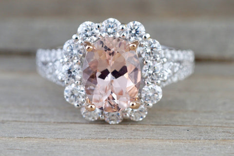 18k White Gold Elongated Cushion Cut Morganite Diamond Halo Ring Vintage Double Row