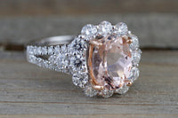 1.90 carats 14k White Gold Elongated Cushion Cut Morganite Pink  Diamond Halo Engagement Ring Double Row Vine Checkerboard 14mm Split Shank