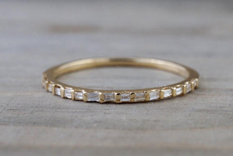 14k Yellow Gold Dainty Thin Channel Set Baguette Cut Rectangle Diamond Band Stackable Design