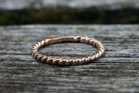 Gold Twined Rope Twist Ring