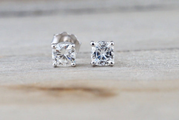 14kt White Gold Cushion Charles and Colvard Forever Brilliant Moissanite 4.5mm Earring Studs Post Classic Stud