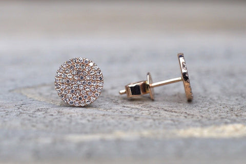 14k Rose Gold Pave Set Diamond Disk Disc Circle Round Stud Earring Post Micro