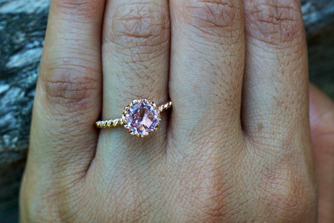 Melrose 14k Gold Round Morganite Engagement Ring Crown Vintage 6mm