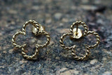 14k Yellow Gold Twist Rope Clover Flower Stud Earring Post
