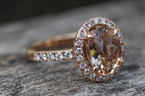 18k Rose Gold Oval Morganite Peach Beige Diamond Halo Engagement Ring Vintage 10x7mm