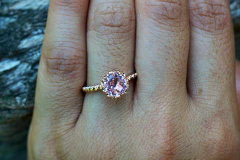 Melrose 14k Rose Gold Round Morganite Pinkish Halo Engagement Ring Crown Vintage 7mm