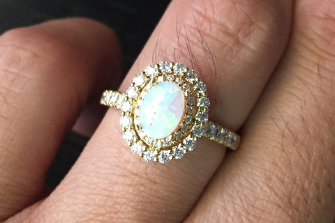 18k Yellow Gold Oval Double Halo Diamond Engagement Promise Ring Anniversary