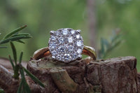 18k Rose Gold Cluster Illusion Round Ring Solitaire Engagement Wedding Promise Ring