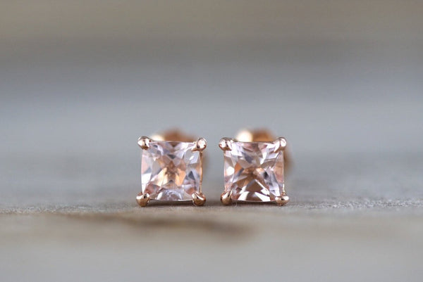 14k Solid Rose Gold Cushion Cut Pink Peach Morganite Earring Studs Post Push Back Square Post Stud