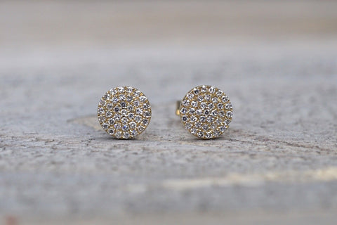 Round Pave Diamond Disc Studs