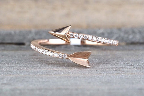 14k Solid Rose Gold Diamond Arrow Open Fashion Ring Band Love Dainty Stackable Loop Catch Stacking
