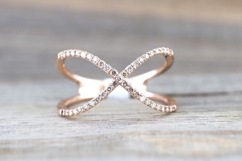 X Cross 14k Rose Gold Diamond Adjustable Love Promise Ring Band Shaped Large Fashion 0.30 carats