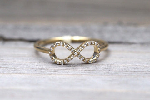 14k Yellow Gold Diamond Pave Polished Infinity Love Symbol Ring Band Promise Anniversary Fashion Rope