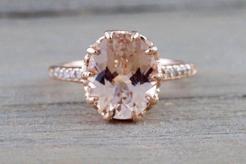 14k Rose Gold Oval Morganite Engagement Promise Wedding Anniversary Ring