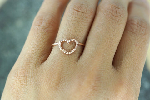 14k Rose Gold Twist Rope Open Heart Anniversart Promise Love Ring Band