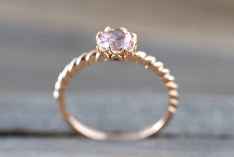 Melrose 14k  Gold Round Morganite Crown Vintage 5mm