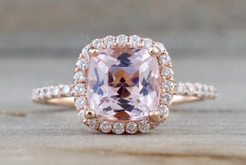 Diamond Cushion Halo Morganite Ring