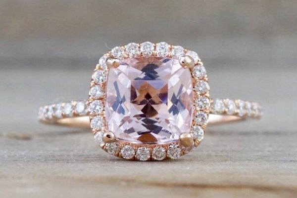 14k Rose Gold Cushion Morganite Diamond Halo Engagement Ring Crown Diamonds