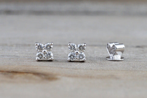 14k White Gold Diamond Clover Flower Earring Studs Stud