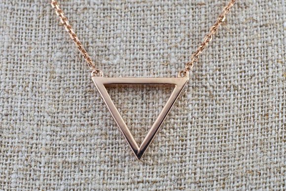 14k Rose Gold Open Triangle Pendant Necklace