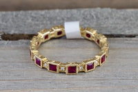 14k Yellow Gold Square Princess Cut Red Ruby FULL Eternity Gemstone Diamond Vintage Antique Classic Band Ring Style Design Art Deco Chic