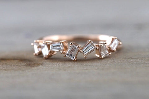 Staggered Baguette Diamond Band