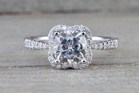 14k White Gold Cushion Moissanite Diamond Halo Engagement Promise Ring 6.5mm