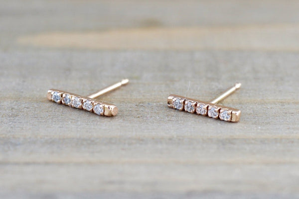 14k Rose Gold Diamond Bar Earring Studs Stud wth backings