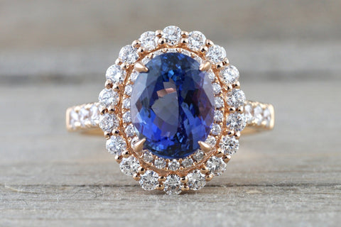 18k Rose Gold Double Oval Tanzanite Diamond Halo Engagement Ring ASP010015