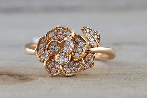 18kt Rose Gold Diamond Flower Petal Floral Band Promise Ring Anniversary