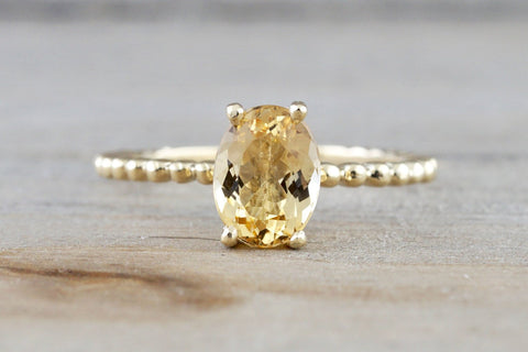 14k Yellow Gold Oval Imperial Topaz Prong Engagement Promise Ring Rope Bead Vintage Stackable Classic Stack