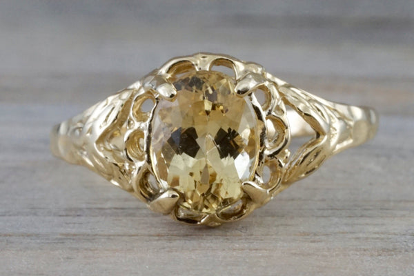 14k Yellow Gold Oval Imperial Topaz Hammered Vintage Art Deco Engagement Anniversary Promise Ring