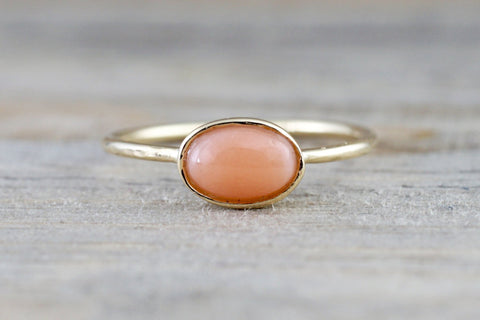14k Solid Yellow Gold Oval Bezel Natural Pink Coral 0.39 carats Band Ring