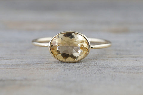 Yellow Topaz Gold Oval Bezel Band Minimalist Birthstone Ring