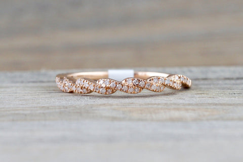 14k Rose Gold Diamond Pave Twist Polished  Ring Band Wedding Promise Rope